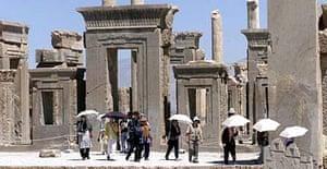 Tourists visit Persepolis, Iran