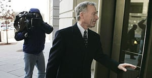 """Lewis """"Scooter"""" Libby arrives at the US district court in Washington during his trial."""
