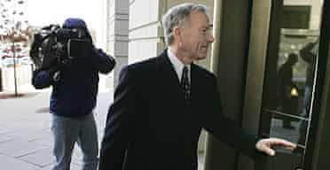 "Lewis ""Scooter"" Libby arrives at the US district court in Washington during his trial."