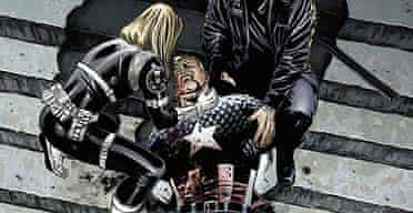 Captain America lies on the courthouse steps after being shot by a sniper