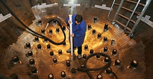 A worker at the nuclear reactor factory in Chalon-sur-Saone, France. Nearly 80% of France's power comes from nuclear plants.