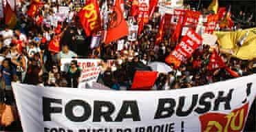 Demonstrators march against George Bush in Sao Paulo