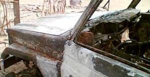 An abandoned vehicle belonging to the group of Europeans who were kidnapped in Ethiopia. Photograph: Aaron Maasho/AFP/Getty