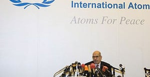 Mohammed ElBaradei, director general of the International Atomic Energy Agency (IAEA), holds a press conference in Beijing after returning from Pyongyang.