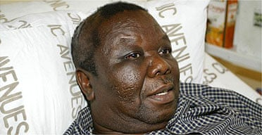Zimbabwean opposition leader, Morgan Tsvangirai, at a local hospital in Harare