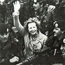 Margaret Thatcher visits troops on the Falklands Islands in 1983
