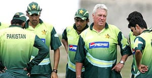 Pakistan's cricket players and coach Bob Woolmer during a practice session at Kensington Park in Kingston, Jamaica on Thursday March 15 2007