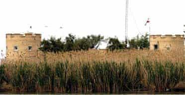 An Iranian watch tower near the Shatt al-Arab waterway