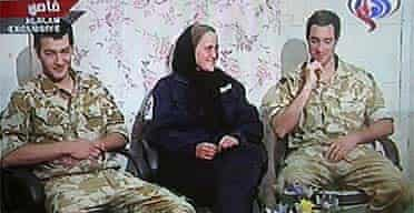 Three members of the captured British navy patrol are shown on Iranian Arabic-speaking television station Al-Alam TV, including Faye Turney and Nathan Thomas Summers (right)