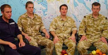 Iranian TV has shown previously unseen footage of four of the 15 British service personnel held captive