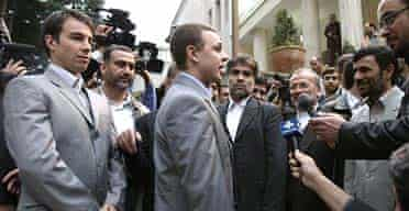 The operator maintainer Arthur Batchelor, the youngest of the captured group, is interviewed after President Ahmadinejad, right, announced they were to be released