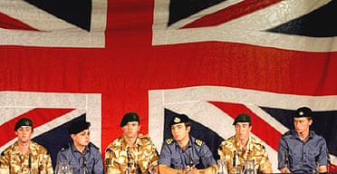 British servicemen give a press conference in Devon after 13 days of captivity in Iran