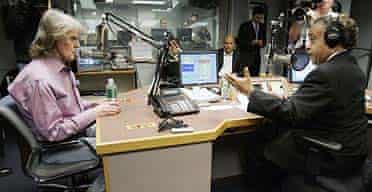 Radio host Don Imus, left, and the Rev Al Sharpton appear face-to-face on Rev Sharpton's show