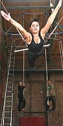 Sadie Frost practises trapeze