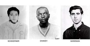 Michael Schwerner, James Chaney and Andrew Goodman, the three civil-rights campaigners beaten and shot dead by Ku Klux Klan members in Philadelphia, Mississippi, in June 1964