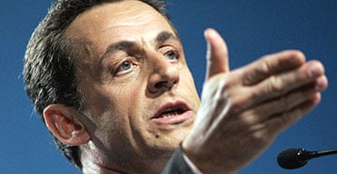The French conservative presidential candidate Nicolas Sarkozy addresses a rally in Tours