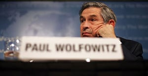 World Bank president Paul Wolfowitz holds a press conference in Washington.