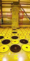 A yellow and black pattern shows full (black) and additional space (yellow) at the temporary storage of High level radioactive nuclear waste at Sellafield nuclear plant