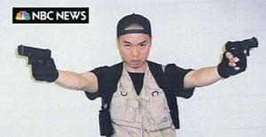 This image from NBC shows Virginia Tech gunman Cho Seung-Hui in part of a package apparently mailed to the network on Monday, April 16 between Cho's first and second bursts of gunfire on the Virginia Tech campus