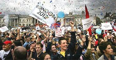 Londoners celebrate the city's winning bid for 2012