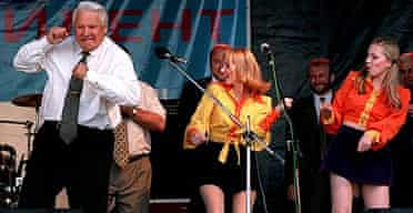 Former Russian president Boris Yeltsin pictured dancing at a rock concert in Rostov, Russia, in 1996.