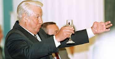 Former Russian president Boris Yeltsin makes a toast at an awards ceremony in Moscow in 1998.