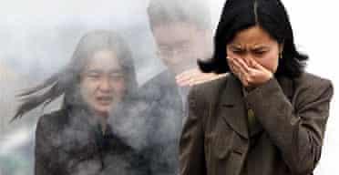 Chinese executives walk through fumes in Beijing