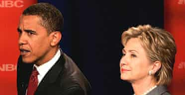 Democratic presidential candidates Barack Obama (l) and Hillary Clinton take part in the first televised debate of the of the 2008 presidential campaign
