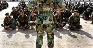 Officers and new recruits to the Afghan national army