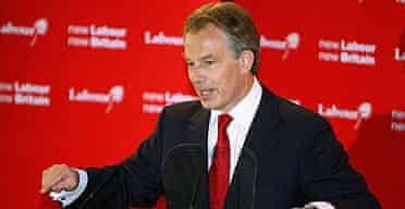 Tony Blair delivers his resignation speech at the Trimdon Labour Club in Sedgefield.