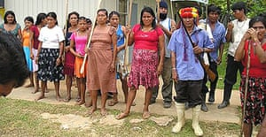 Peruvian indiginous people protest against pollution caused by oil extraction
