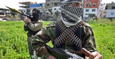 Armed militants of the Palestinian Islamist group Fatah al-Islam secure a position in northern Lebanon