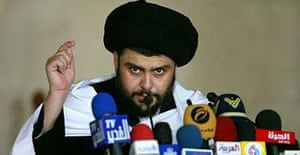 Radical Shia cleric Moqtada al-Sadr speaks to supporters at Friday prayers at his local mosque in Kufa, Iraq