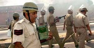 Indian police patrol the streets of Jaipur, Rajasthan