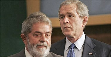 Brazilian president Luiz Inacio Lula da Silva and US president George Bush
