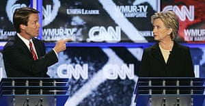 Democratic presidential hopefuls John Edwards and Hillary Clinton take part in a televised primary debate at Saint Anselm College in Manchester, New Hampshire