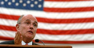 Republican presidential candidate Rudy Giuliani addresses high school students in Montoursville, Pennsylvania.