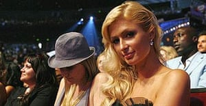 Paris Hilton sits in the audience during the 2007 MTV movie awards in Los Angeles.
