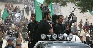 Hamas supporters at the funeral of a cleric killed during fighting between Hamas and Fatah militants in Gaza City.