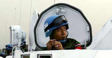 An Indonesian soldier prepares for a UN peacekeeping mission
