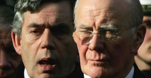Gordon Brown and Sir Menzies Campbell attend a remembrance service in London in 2006