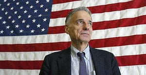 Independent presidential candidate Ralph Nader on the campaign trail in 2004.