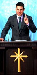 Tom Cruise makes a speech at a Scientology church in Madrid