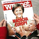 The cover of the Polish weekly Wprost shows a computer-generated image of Angela Merkel, suckling the nationalist twin rulers of Poland