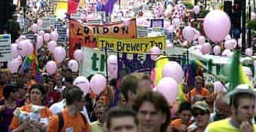 London's Gay Pride parade.
