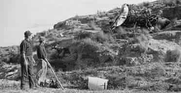 Workmen assisting in an atomic bomb search after a US plane crash above Palomares in 1966
