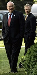 US Vice President Dick Cheney (left) stands with adviser Lewis 'Scooter' in the Rose Garden of the White House in 2005