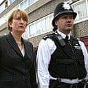 Home secretary Jacqui Smith meets police officers in south-east London.