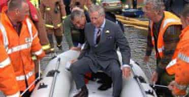 Prince Charles inspects floods at Toll Bar, South Yorkshire