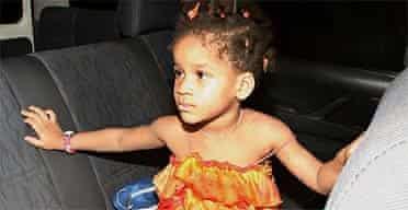 British girl Margaret Hill, three, after her release in Port Harcourt, Nigeria